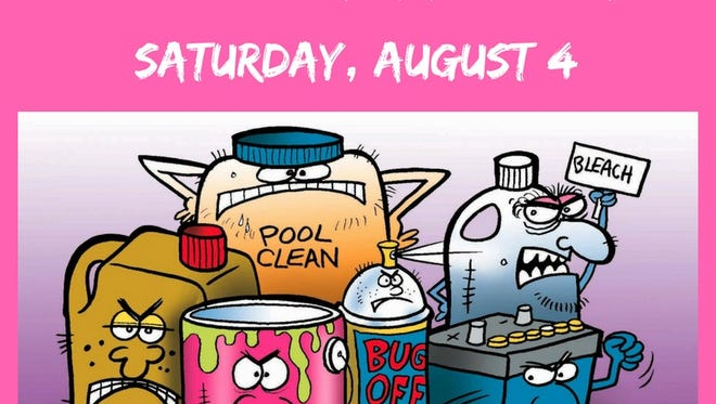 A free Household Hazardous Waste recycling event will be held from 9 a.m. to 2 p.m. on Saturday, Aug.4, at the Union County Vocational-Technical Schools campus, 1776 Raritan Road in Scotch Plains.