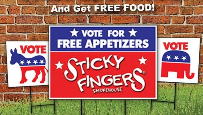 Sticky Fingers is offering free food in exchange for political signs.
