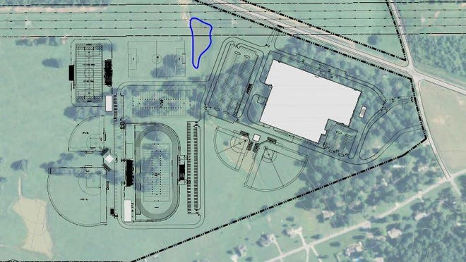 A sketch that the architects put together of a grades 6-12 concept on the site across the street from Stuart-Burns Elementary School. Lyle, Cook & Martin, of Clarksville, are the architects.