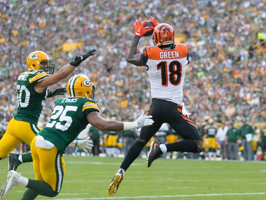 Cincinnati's A.J. Green has more receptions this year