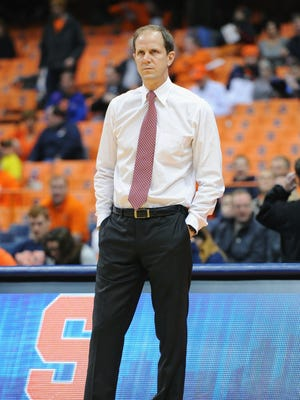 Assistant Mike Hopkins will take over as Syracuse basketball head coach in 2018. Nov 25, 2014; Syracuse, NY, USA; Syracuse Orange assistant head coach Mike Hopkins looks on prior to the game against the Loyola (Md) Greyhounds at the Carrier Dome.  Syracuse defeated Loyola 70-37.  Mandatory Credit: Rich Barnes-USA TODAY Sports