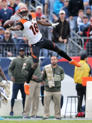 A.J. Green is unable to make the catch during the Bengals 24-20 loss to the Titans.