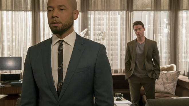 """This image released by Fox shows Jussie Smollett, left, and A.Z. Kelsey in a scene from the """"Pride"""" episode of """"Empire"""" which originally aired on Oct. 10, 2018. Smollett's co-starring role in """"Empire"""" may end up being the pinnacle of his career, industry observers and insiders said as the actor faces criminal charges that he faked a hate crime against himself."""