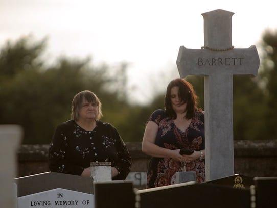 Emily Barrett, left, and Karen Barrett stand at the