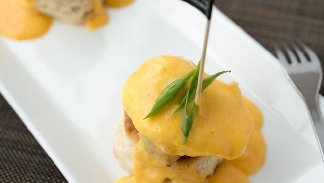 TRATA's Eggs Benedict is based on biscuits instead of the traditional English muffins.
