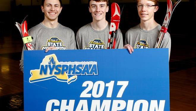 Horace Greeley's (from left) Simon Ludl, Kyle Burton and Grant McElheny selected the Westchester/Putnam Skiers of the Year photographed at Horace Greeley High School in Chappaqua on Tuesday, April 4, 2017. Greeley finished in a tie for first place in the NYSPHSAA championships.