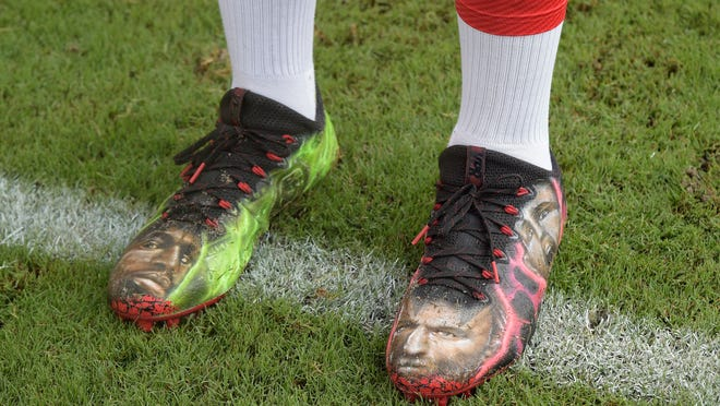 George Johnson wore these before the Bucs-Browns preseason game.