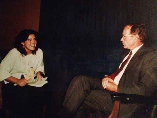 Detroit Free Press Staff Writer Patricia Montemurri interviewing then Vice President George H.W. Bush in 1984 in Detroit