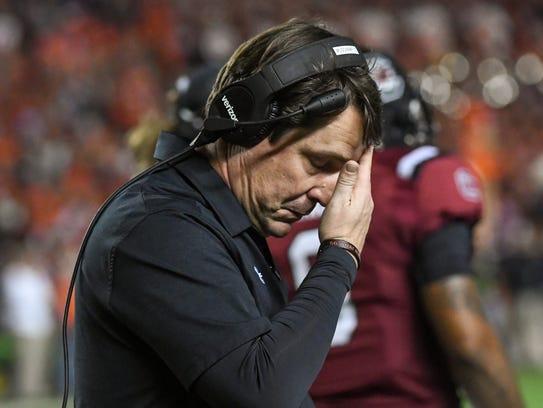 South Carolina head coach Will Muschamp reacts after