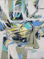 """Spillenger probably created """"Composition: White, Aqua, Yellow,"""" an oil painting on canvas, after his return from Rome to New York City, where he became entrenched in the art movement taking place on 10th Street."""