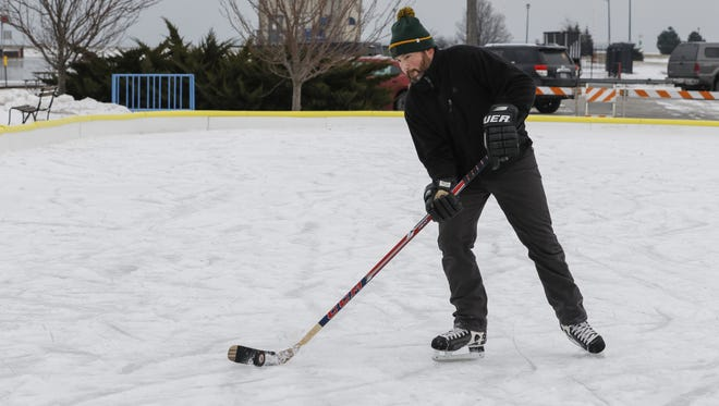 In this file photo, Joseph Smith practices his stick handling at the ice rink in downtown Manitowoc Jan. 9, 2017.