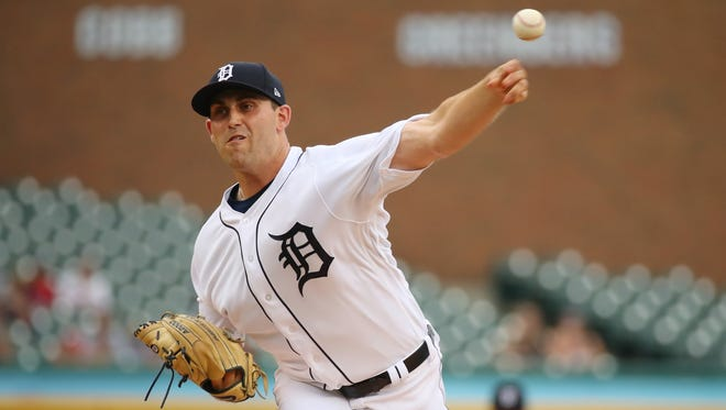 Matthew Boyd throws a first-inning pitch vs. the Rangers at Comerica Park on July 5.
