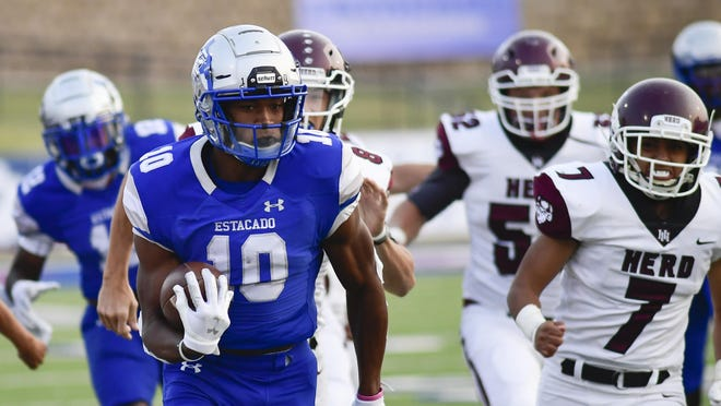 Estacado senior wide receiver TJ Steele (10) runs for an eventual touchdown against Hereford on Friday at PlainsCapital Park at Lowery Field.