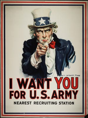 This Army recruiting poster was first used in 1917.