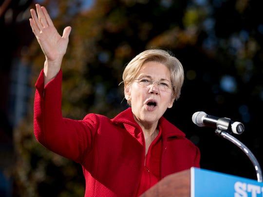 Sen. Elizabeth Warren, D-Mass. speaks at a rally for