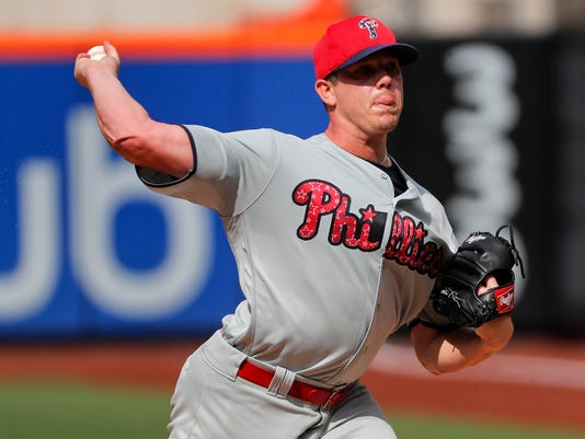 Philadelphia Phillies pitcher Jeremy Hellickson delivers against the New York Mets during the first inning of a baseball game, Saturday, July 1, 2017, in New York. (AP Photo/Julie Jacobson)