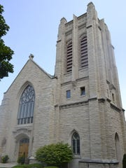 The carillon tower, on right, at First Evangelical Lutheran Church, 743 S. Monroe Ave., Green Bay.
