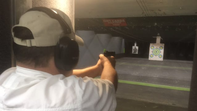 Dean Wilson of Murfreesboro take aim at the On Target shooting range in Murfreesboro. A new indoor gun range has been proposed near the Warrior Drive-New Salem Highway intersection by I-24.