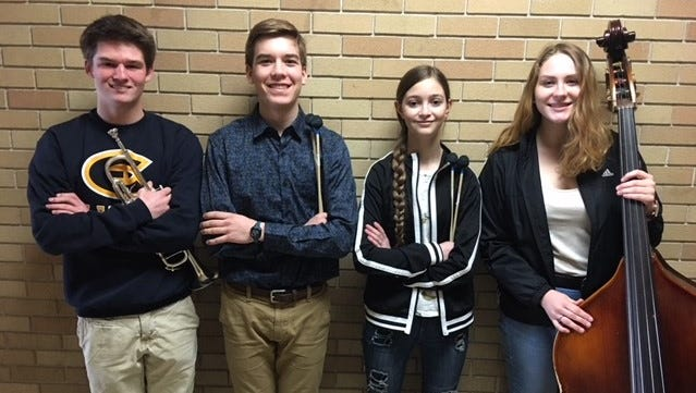 From left, D.C. Everest students Nicholas Phalen, David Pickar, Peyton Green and Isabel Tyeten auditioned and were chosen for the Wisconsin School Music Association State Honors Music Project.
