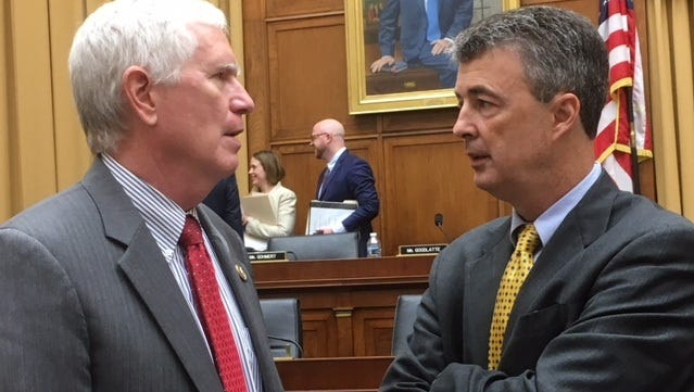 Rep. Mo Brooks, R-Ala., and Alabama Attorney General Steve Marshall chat Friday after a hearing on the Census.