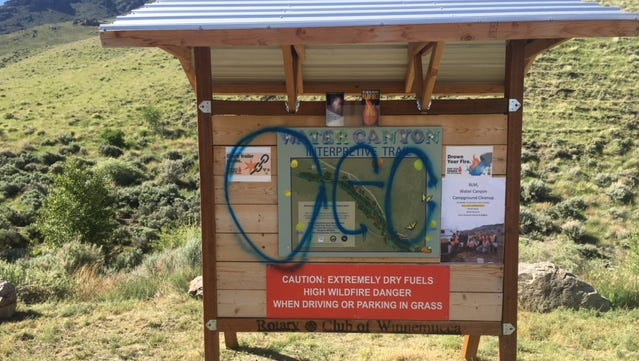 Water Canyon, a recreational site near Winnemucca, has experienced a spate of heavy vandalism.