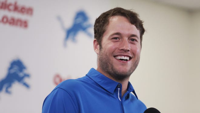 Lions quarterback Matthew Stafford speaks during a press conference at the team's facility in Allen Park on Aug. 29, 2017 after signing a five-year contract extension worth $135 million.