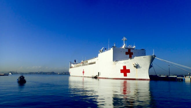 The USNS Comfort Naval Hospital Ship docked in San Juan Harbor in Puerto Rico on Oct. 4, 2017.