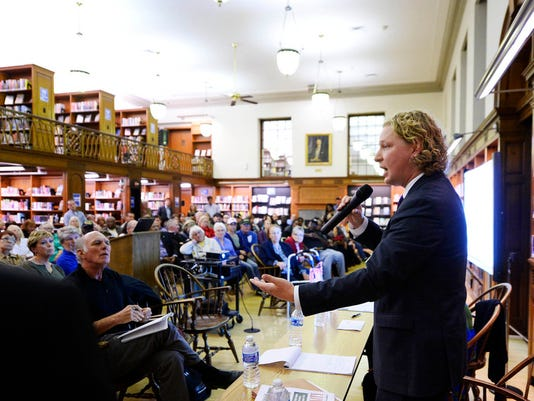 """Rep. Kevin Schreiber gives his thoughts after listening to concerns and ideas proposed by community members during a Fixing York Community Conversation at Martin Library in York Tuesday, October 13, 2015. The goal of Fixing York, which began as a Facebook group, is to find solutions to issues facing York and make it a better place.  Kate Penn â """" Daily Record/Sunday News"""