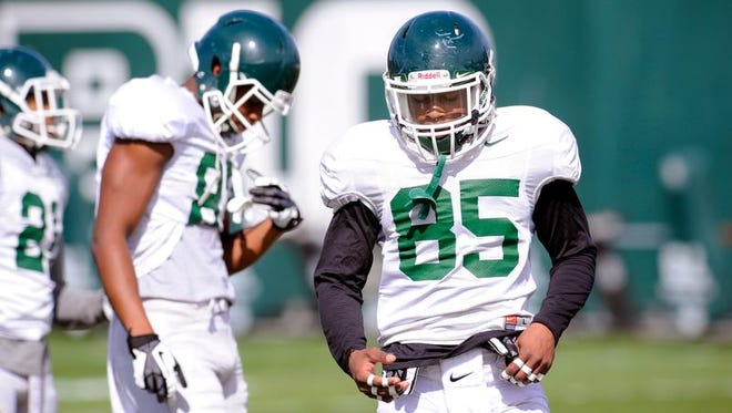 MSU's MacGarrett Kings Jr. (85) on the field with the Spartans during practice on campus in East Lansing Tuesday