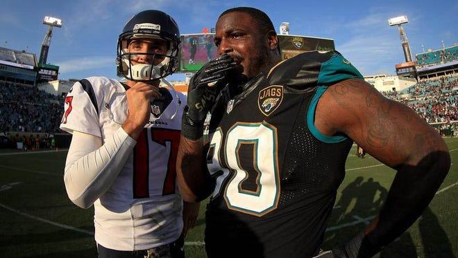 Ex-Broncos Brock Osweiler of the Texans and Malik Jackson of the Jaguars meet up.