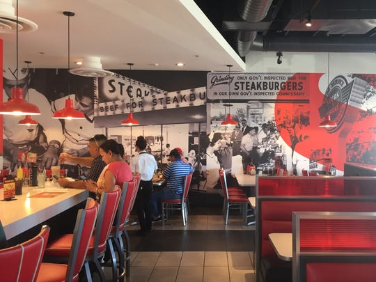 The dining room at the new Steak 'n Shake in South Reno features a bold graphic style.