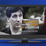 A stillframe of a political ad paid for by the Republican Governors Association against Vincent Sheheen.