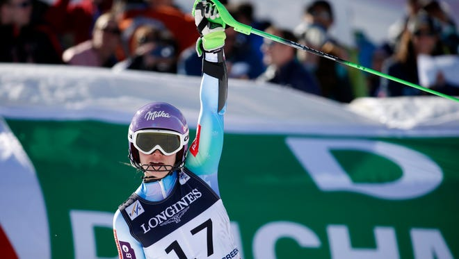 Tina Maze of Slovenia reacts after her slalom run to win gold in the combined at the world championships on Feb. 9.