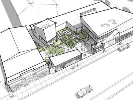A designer's sketch of a proposed renovation of the