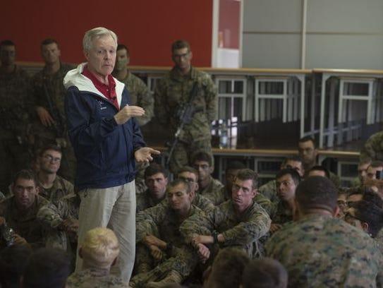 Secretary of the Navy Ray Mabus talks with Marines