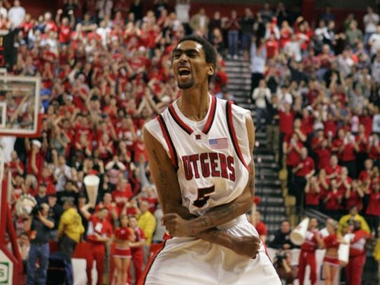 Quincy Douby celebrates a game-winning shot against Seton Hall in 2005.