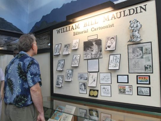 "A display of William ""Bill"" Mauldin's famous editorial"