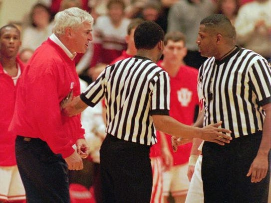 FILE - Indiana head coach Bobby Knight, left, is separated