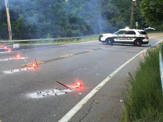 Fatal crash scene on Route 202 near a private school