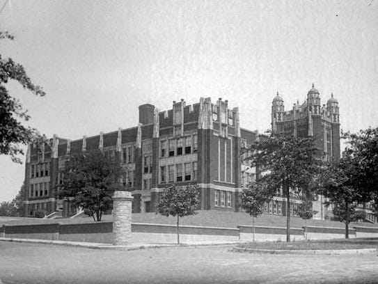 Camden High School, the Castle on the Hill, is shown