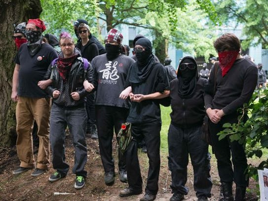 Antifa protesters at a recent gathering.