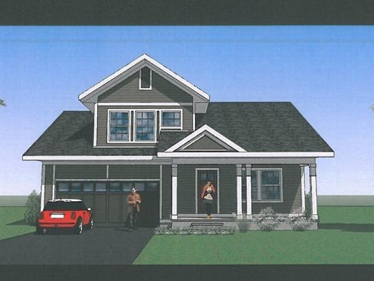 A rendering of a single family home, part of the proposed