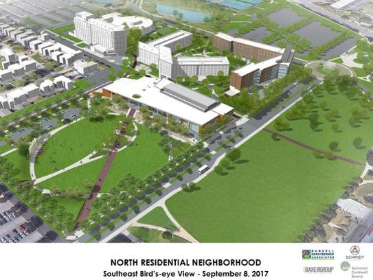 A traffic circle is visible (upper right) in this drawing of new residence and dining halls to replace LaFollette Complex at Ball State University.