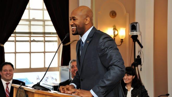 Andre K. Rainey was sworn in as Peekskill's new mayor at a ceremony at Peekskill's City Hall, Jan. 1, 2018.