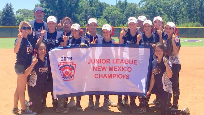 The Deming Little League Junior All-Star softball team posted a championship win the first round of the state tournament in Las Vegas, N.M. and will be advancing to the regional tournament July 22-27 in Los Alamos, N.M. The team is: coaches, Chantel Jaquez, Brent Johnson and Charlene Wood; Players (in no particular order):  Ciera Wood, Adriana Giron, Chloe Johnson, Chloe Martinez, Sara Verdugo, Brooke Huerta, Evelyn Ramirez, Kaydance Chavez, Julissa Chavez, Vihaney Salcido, Adryana Jaquez and not pictured, Mireya Trujillo.