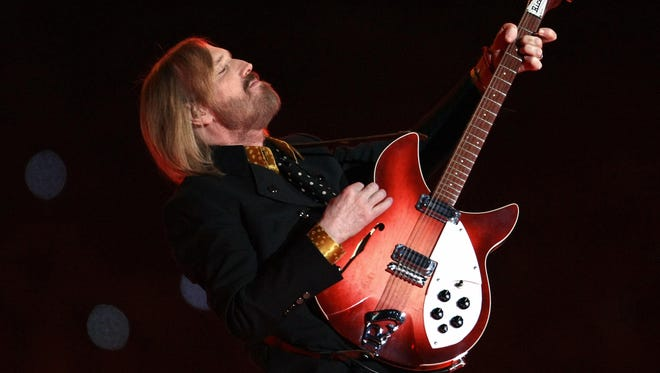 Tom Petty performs during halftime at Super Bowl XLII in 2008.