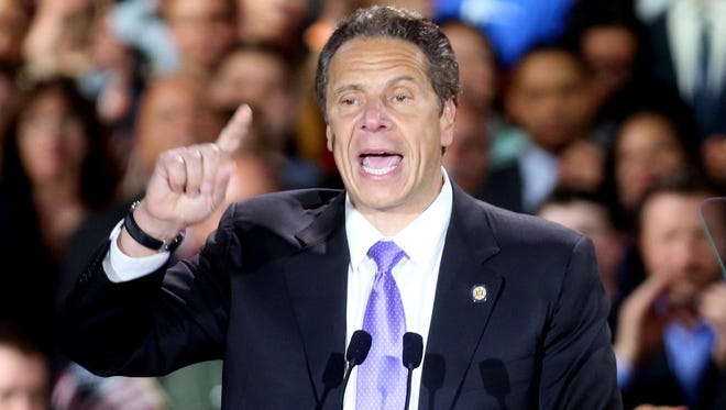 New York Governor Andrew Cuomo addressed supporters of Hillary Clinton at the Sheraton New York in Manhattan after Clinton defeated Bernie Sanders in the New York primary April 19, 2016.
