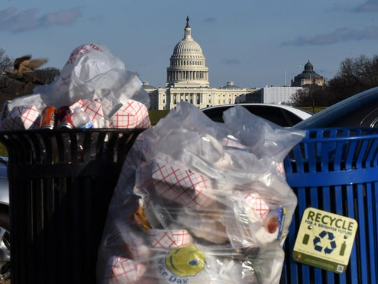 Trash builds up along the National Mall as trash collectors are off work during a partial shutdown of the federal government, on Dec. 24, 2018 in Washington, D.C. Parts of the U.S. government shut down on Saturday for the third time this year after a bipartisan spending deal collapsed over President Donald Trump's demands for more money to build a wall along the U.S.-Mexico border. (Olivier Douliery/ Abaca Press/TNS)