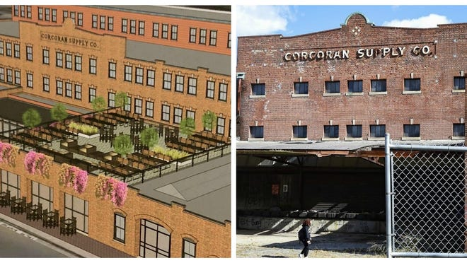 The Northeast Capital Group had submitted a proposal to restore the former Corcoran Supply Co. warehouse, right, as a mixed-use apartment building with a grocery store and rooftop gastropub.