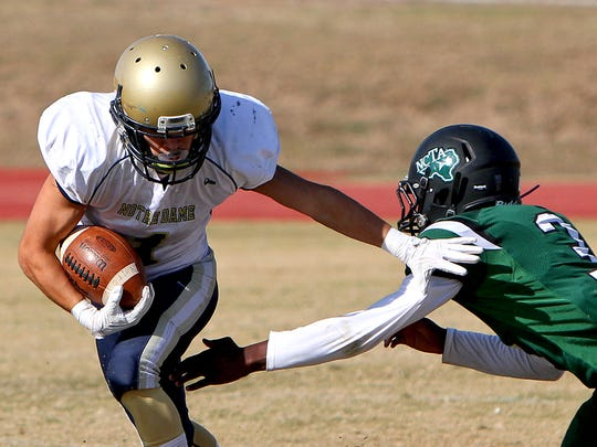 Notre Dame's Skyler Whitten broke plenty of tackles playing six-man football for the Knights and will try his hand at the 11-man version of the game in the Oil Bowl.